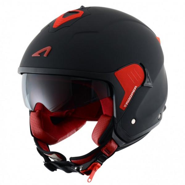 Astone Helmets Minijet Trooper jet Helmet matt black red