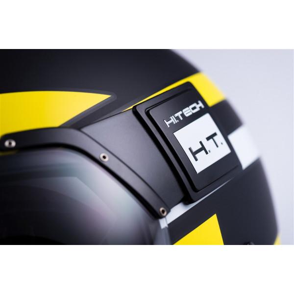 Blauer Pod Stripes jet helmet fiber Black Yellow Matt White