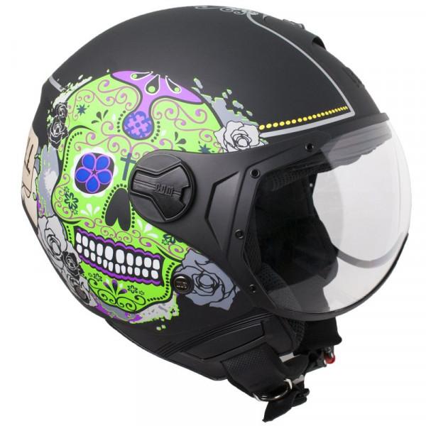 CGM 107S Cancun jet helmet short visor matt Black