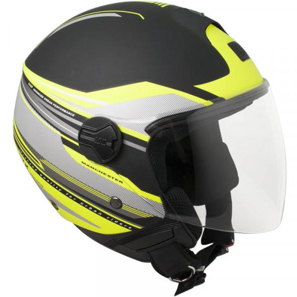 CGM 107X-FLA MANCHESTER jet helmete long visor Matt Black