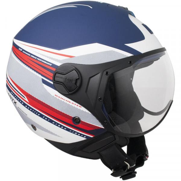 CGM 107X-FLA MANCHESTER jet helmete short visor matt blue