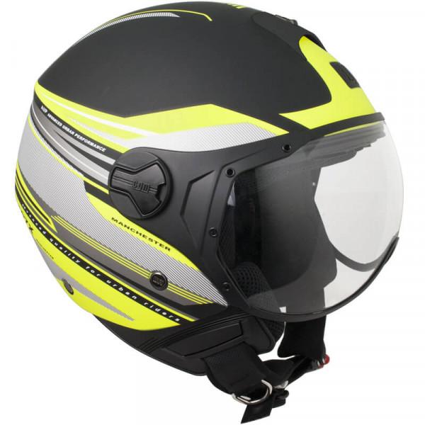 CGM 107X-FLA MANCHESTER jet helmete short visor matt Black