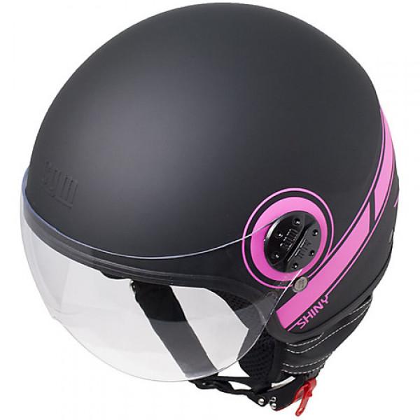 CGM 109S Shiny jet helmet Fluo Fuxia Matt Black