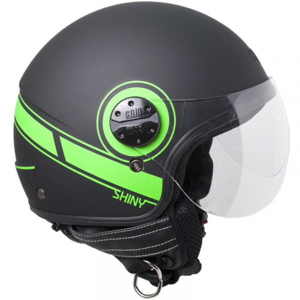 CGM 109S Shiny jet helmet Fluo Green Matt Black