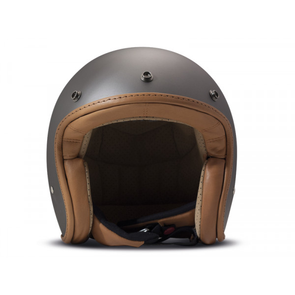 DMD Leather Vintage Pillow jet helmet carbon Matt Grey Brown