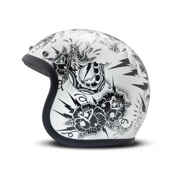 DMD Vintage Thunderstruck jet helmet fiber White Black