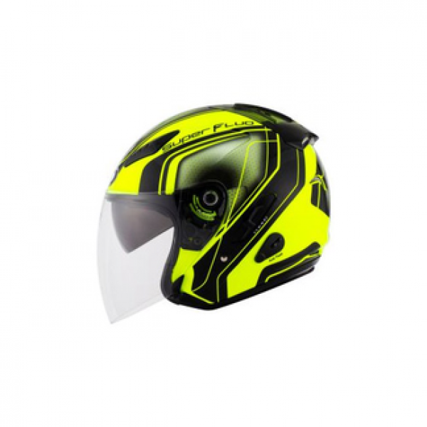 KYT jet helmet Hellcat Superfluo yellow