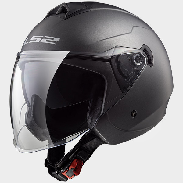 LS2 OF573 Twister jet helmet double visor matt titanium