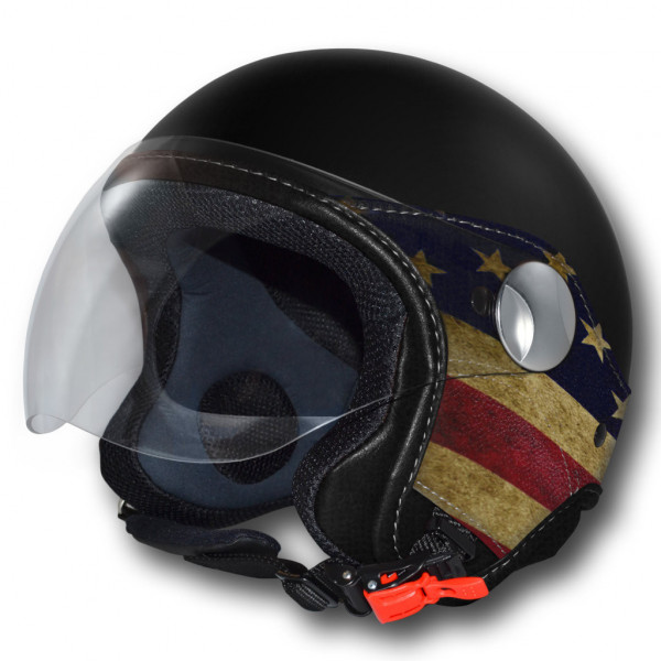 LS Trandy Vision USA jet helmet Black