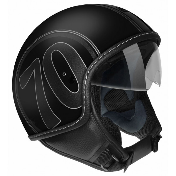 Max Mustang Scratch 1970 jet helmet Black chrome
