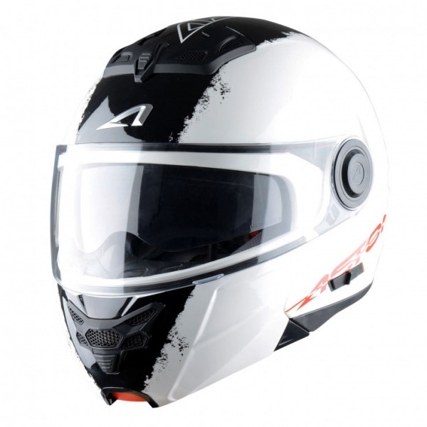 Astone Helmets RT800 Stripes flip off helmet white