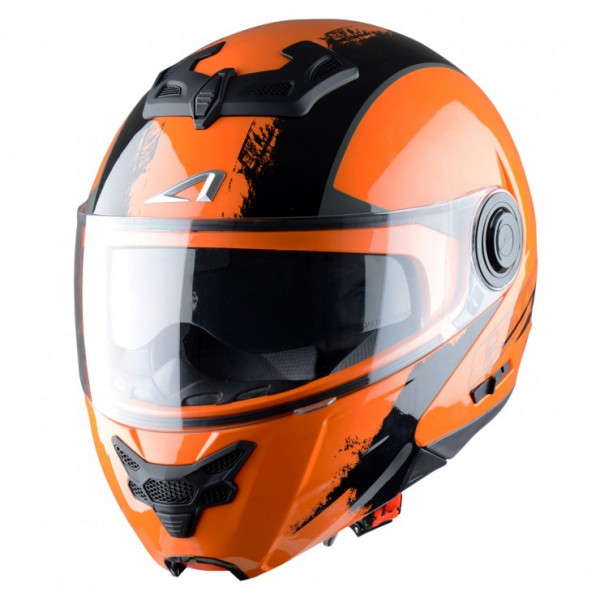 Astone Helmets RT800 Venom flip off helmet black orange