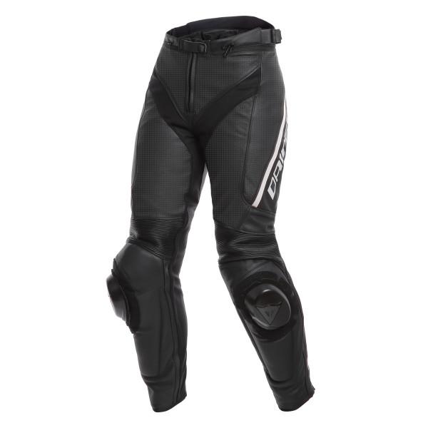 Pantaloni moto donna pelle racing Dainese DELTA 3 LADY traforati Nero Nero Bianco