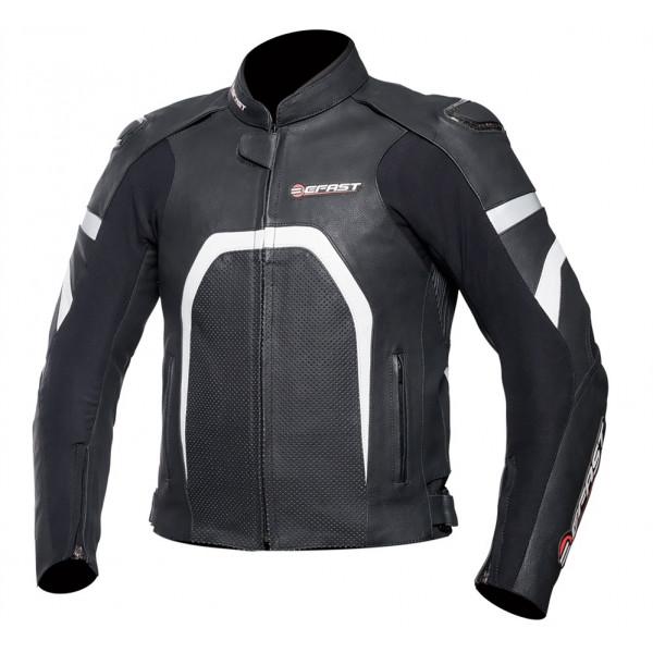 Giacca moto pelle racing Befast Ipervent Nero Bianco