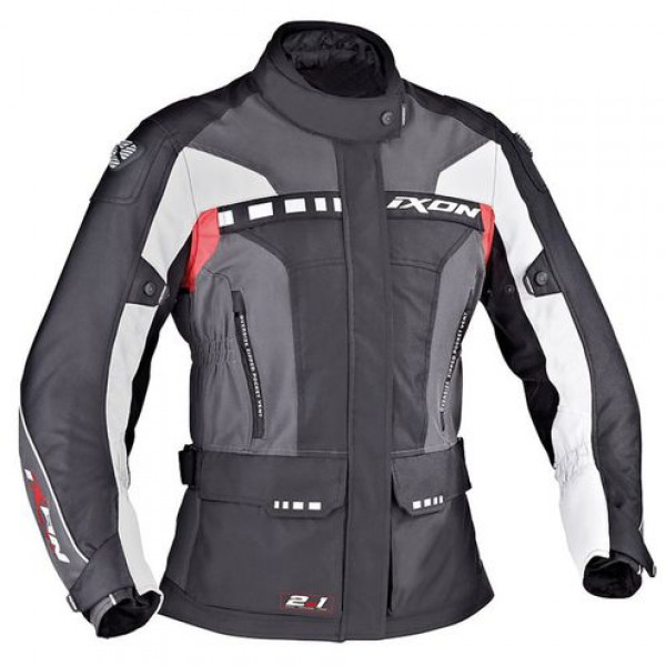 Ixon motorcycle Jacket Technical Fabric CORSICA Lady Black Grey Red