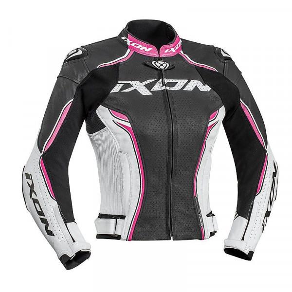 Ixon VORTEX LADY woman leather jacket Black White Fuchsia