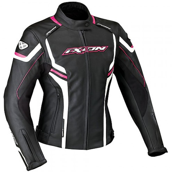 Ixon Stunter Lady leather jacket Black White Fuchsia
