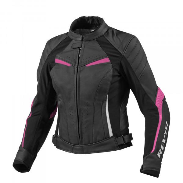 Rev'it Xena Ladies leather motorcycle jacket black fuchsia