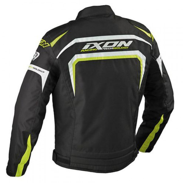 Ixon Eager motorcycle Jacket Black White Yellow Lively