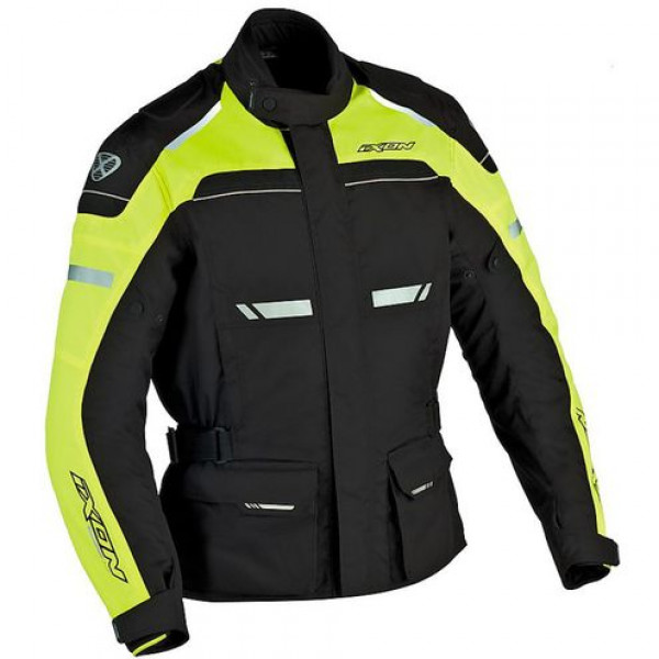 Ixon Fjord Waterproof 4 Seasons motorcycle Jacket Black Lively Yellow