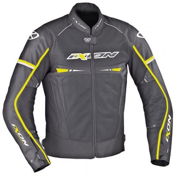 Ixon PITRACE motorcycle Jacket Black White Lively Yellow