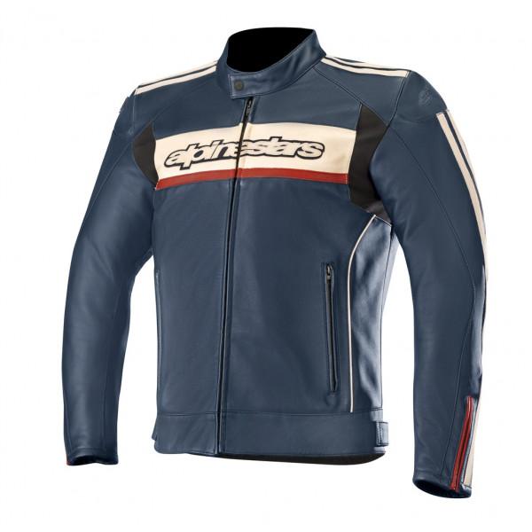 Alpinestars DYNO V2 leather jacket navy stone red