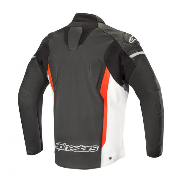 Alpinestars FASTER leather jacket black white red fluo