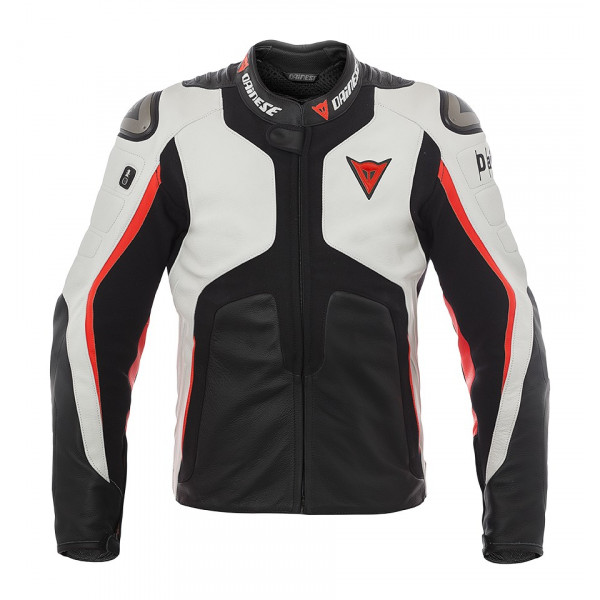 Dainese D-Air Misano 1000 leather jacket white black fluo red
