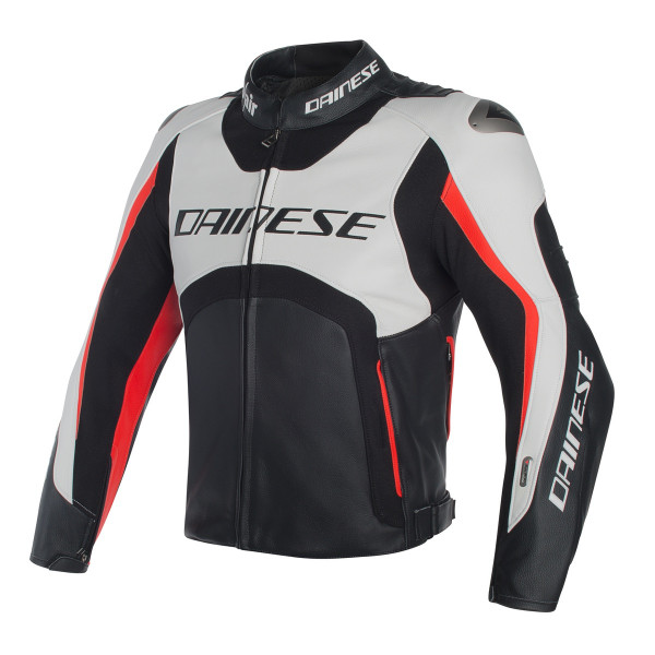Dainese leather jacket Misano D-Air white black red fluo