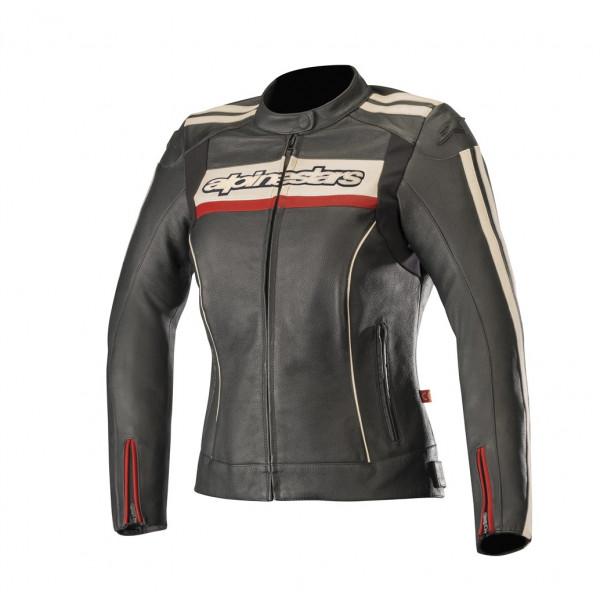 Alpinestars STELLA DYNO V2 leather lady jacket black stone red