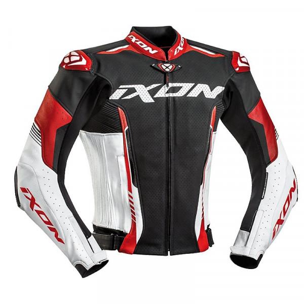 Ixon VORTEX 2 summer leather jacket Black White Red