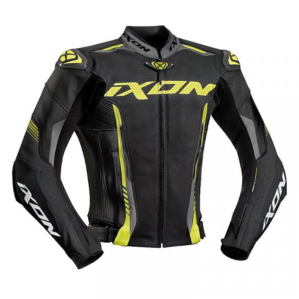 Ixon VORTEX 2 summer leather jacket Black Grey Bright Yellow