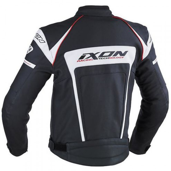 Ixon Fueller motorcycle Leather Jacket Absolute Black White