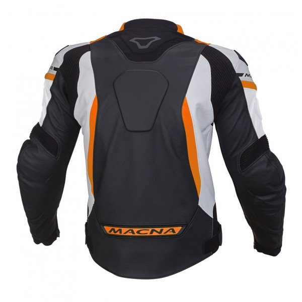 Macna leather jacket Hyper black white orange