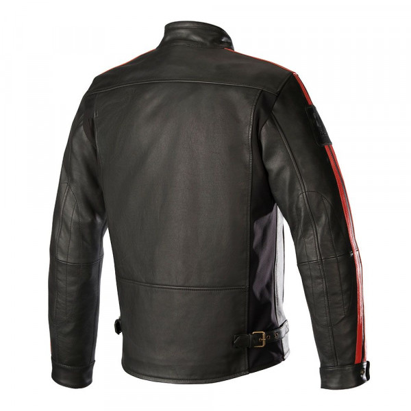 Alpinestars CHARLIE Tech-AIR compatible leather motorcycle jacket black red