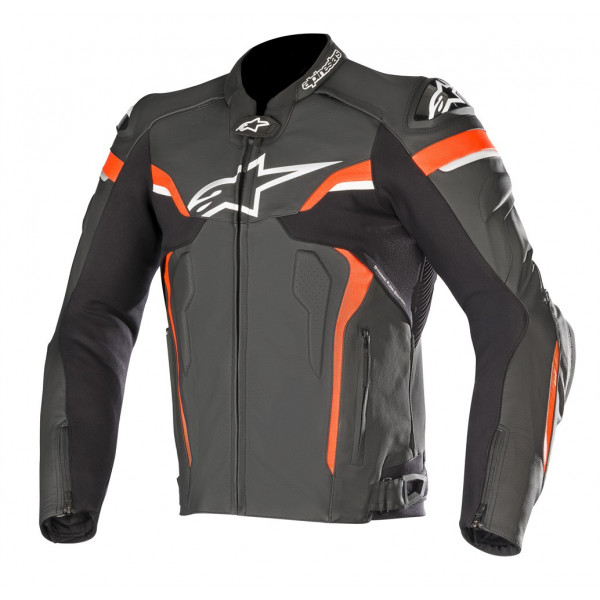 Alpinestars CELER V2 leather motorcycle jacket black white red fluo