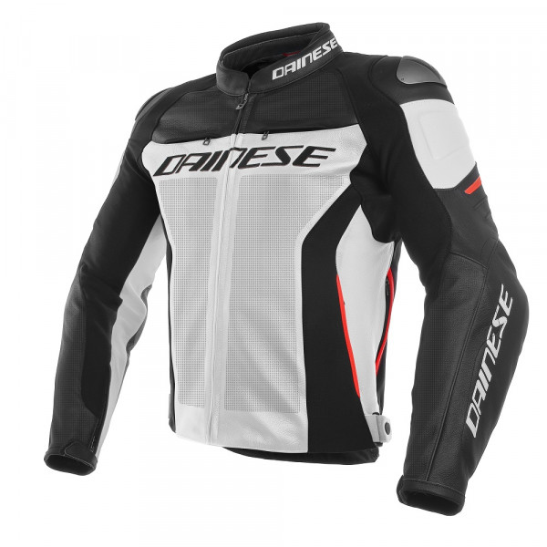 Dainese RACING 3 leather jacket perforated white black red