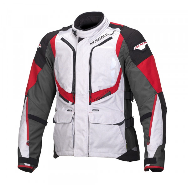 Macna touring jacket Vosges 3 layers light grey black gunmetal red