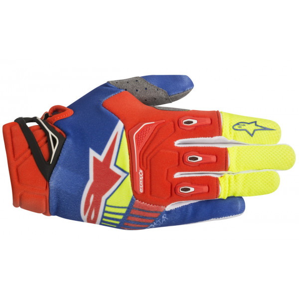 Alpinestars cross gloves Techstar bblue red yellow fluo