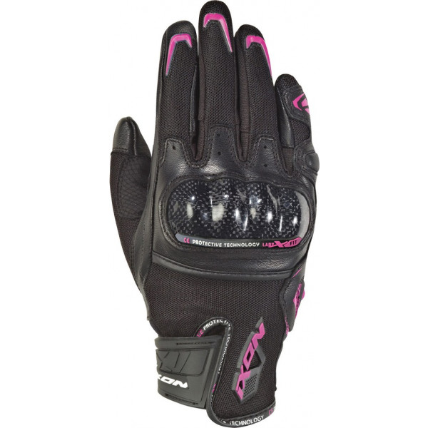 Ixon RS RISE AIR woman summer leather and tex gloves Black Fuchsia