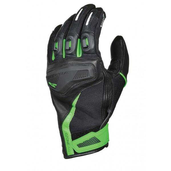 Macna leather summer gloves Ozone black green