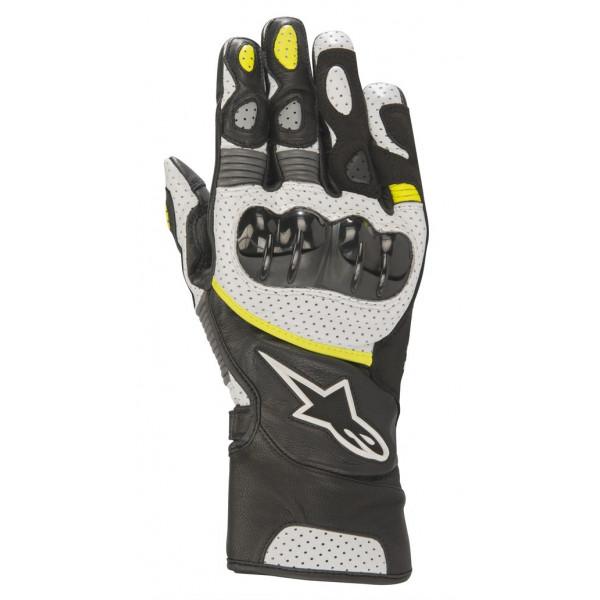 Alpinestars SP-2 V2 leather gloves black white yellow fluo