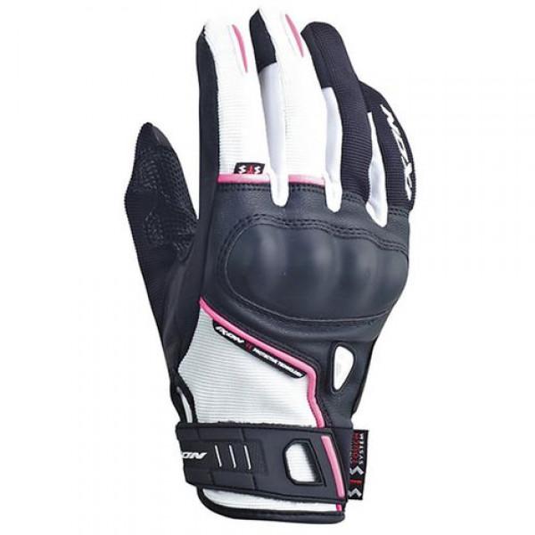 Ixon Rs Grip Lady HP Summer Leather Gloves Black White Fuchsia