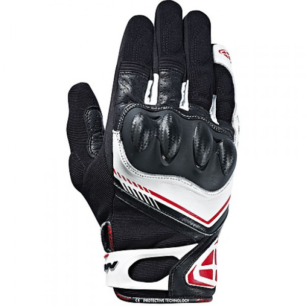 Ixon leather and fabric summer gloves RS Drift black white red