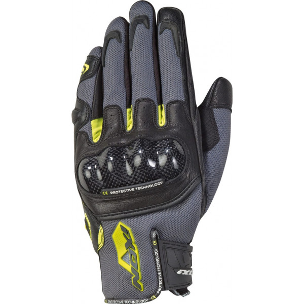 Ixon RS RISE AIR leather and tex summer gloves Grey Black Bright Yellow