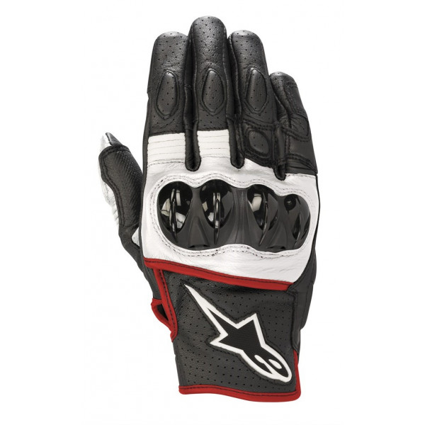 Alpinestars CELER V2 leather summer gloves black white red fluo
