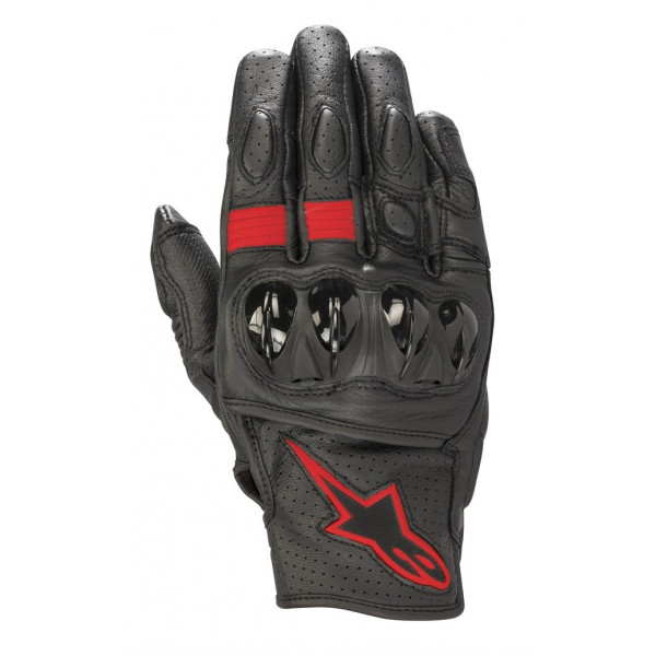 Alpinestars CELER V2 leather summer gloves black red fluo
