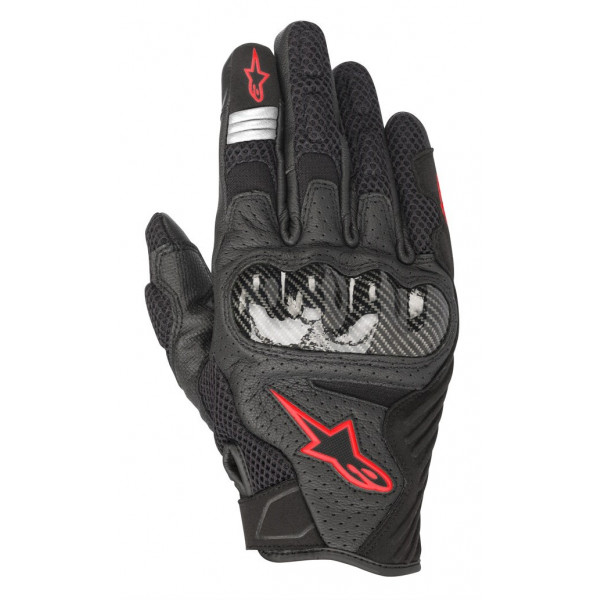 Alpinestars SMX-1 AIR V2 leather summer gloves black red fluo