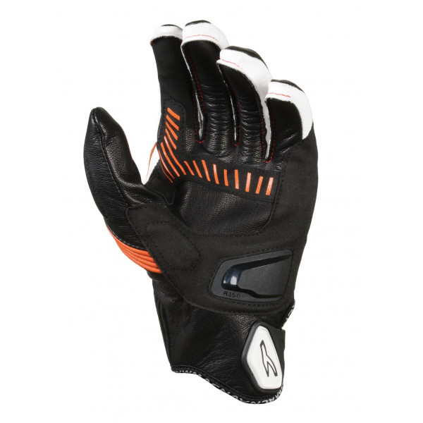 Macna leather summer gloves Outlaw black white orange