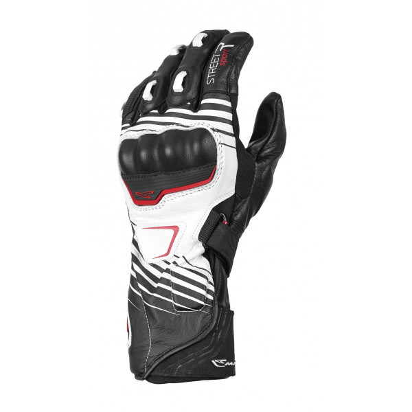Macna leather summer gloves Street R with Kevlar reinforcements black white red